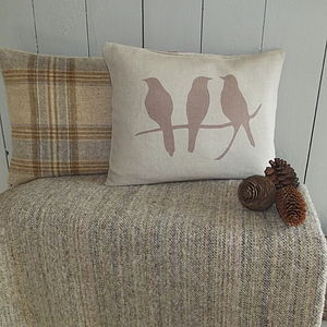 Bird Cushion And Natural Throw Collection - throws, blankets & fabric