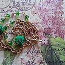 Emerald Rose Gold Wirewrapped Necklace