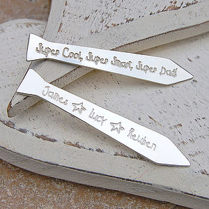 Silver Personalised Tie Collar Stiffeners - personalised jewellery