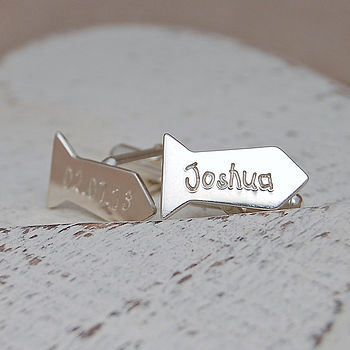 Silver Personalised Tie Shaped Cufflinks