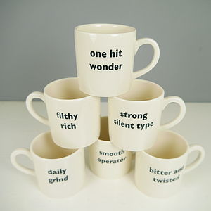 Set Of Six Named Espresso Cups - tableware