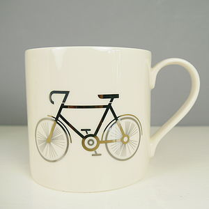 24 K Gold Plated Bicycle Mug - mugs