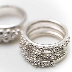 Silver Fine Beaded Ring - rings