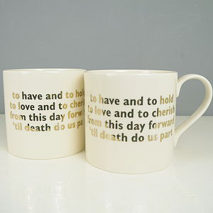 Pair Of Wedding Vows China Mugs - tableware
