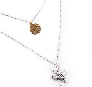Bird And Charm Double Layered Necklace