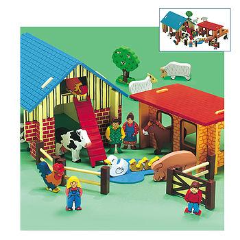 Big Wooden Farm Play Set
