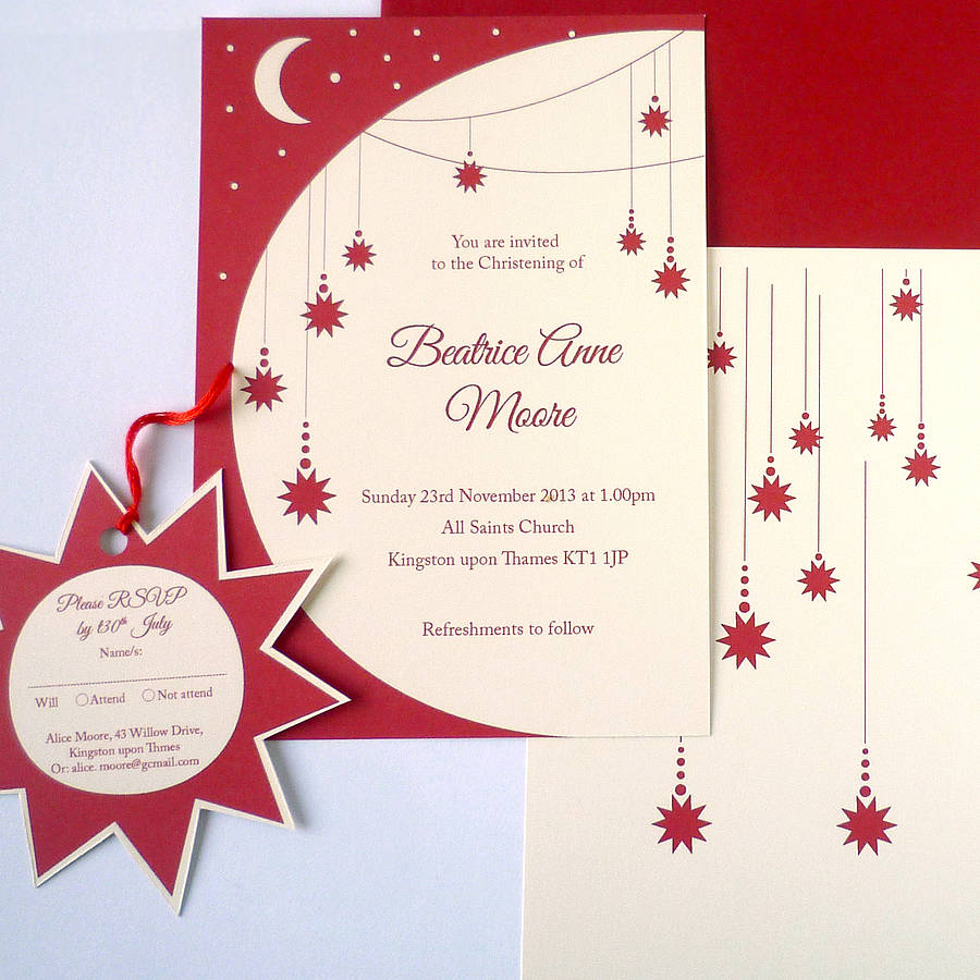 twinkle star christening invitation with rsvp tag by ink pudding ...