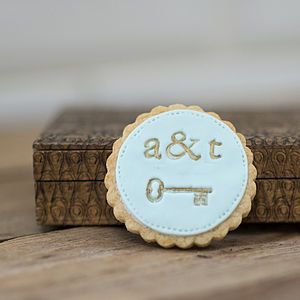 Personalised Vintage Key Favour Cookies - winter wedding ideas