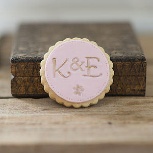Personalised Monogram Wedding Favour Cookies - pastels and gold