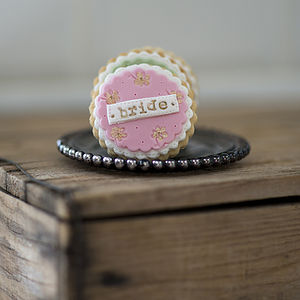 Personalised Floral Wedding Favour Cookies - edible favours