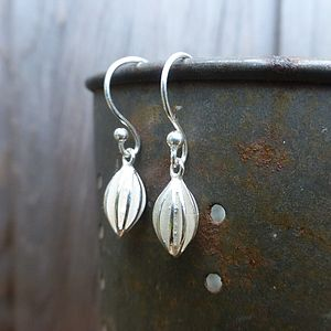 Silver Pod Drop Earrings