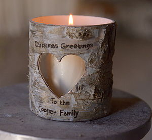 Personalised Birch Bark Candle Holder - outdoor lights