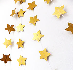 Christmas Metallic Gold Shimmer 5cm Stars Garland - christmas parties & entertaining