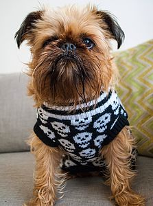 Beetlejuice Skull Knitted Dog Jumper - pet clothes & accessories