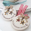 Personalised '1st Christmas 2013' Decorations with Bronze-Coloured Initial Charms