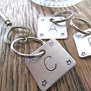 Personalised Initial Square Key Ring - keyrings