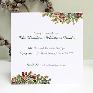 Personalised Christmas Invitations Pack - cards & wrap