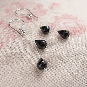 Black Spinel Wishbone Earrings - earrings