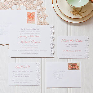 Doily Wedding Stationery - save the date cards