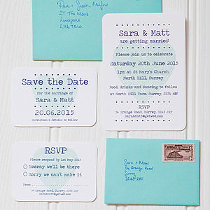 Love Heart Wedding Stationery - mint, blush & gold