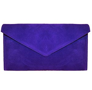 Colbalt Blue Suede Clutch/Shoulder Bag - bags & purses