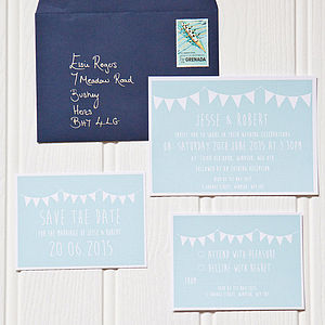 Pastel Bunting Wedding Stationery
