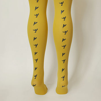 Hand Printed Bird Tights