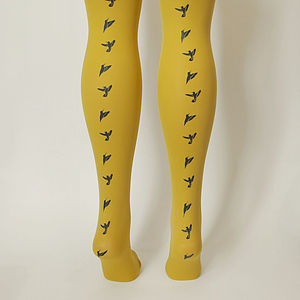 Hand Printed Bird Tights - women's fashion