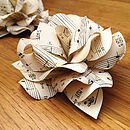 Set Of Five Vintage Music Paper Rose Decs