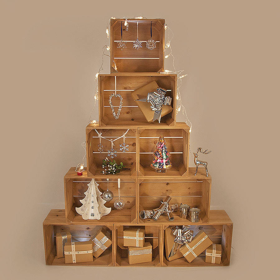 Large christmas crate tree by plantabox - Sapin de noel decore ...