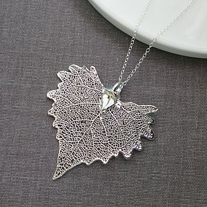 Silver Cotton Wood Leaf Necklace - women's jewellery