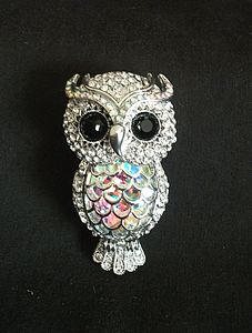 Diamante Owl Brooch