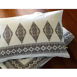 Mysore Aztec Cotton Pillowcase - bed, bath & table linen
