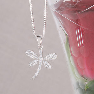 Cubic Zirconia Dragonfly Necklace - summer sale