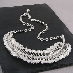 Matt Silver Feather Necklace - statement necklaces