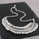 Matt Silver Feather Necklace