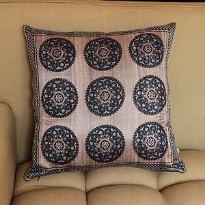 Banswara Circle Print Silk Cushion Cover - cushions