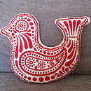 Hand Printed Filled Bird Cushion