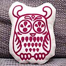 Small Hand Printed Owl Shaped Cushion