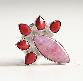 Pink Moonstone And Red Coral Statement Ring