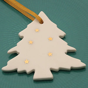 Porcelain Tree Decoration With Gold Stars