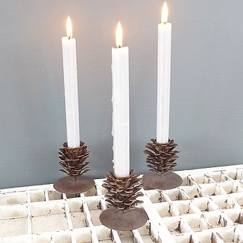Metal Fir Cone Candlestick Holder