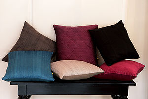 Plain Hand Quilted Silk Cushion Covers - sale
