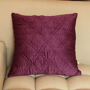 Plain Hand Quilted Silk Cushion Covers