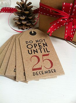 'Do Not Open Until 25 December' Gift Labels