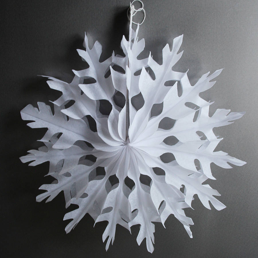 Paper tissue snowflake christmas decorations by pearl and for How to make paper christmas decorations at home
