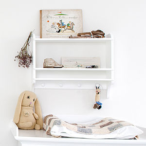 White Wall Mounted Bookshelf With Hooks - baby's room