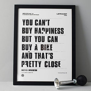 'You Can't Buy Happiness' Screen Print - gifts for cyclists