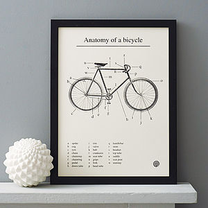 'Anatomy Of A Bicycle' Screen Print - gifts for sports fans
