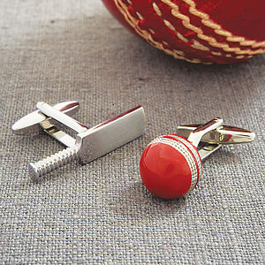 Cricket Bat And Ball Cufflinks - games & sports